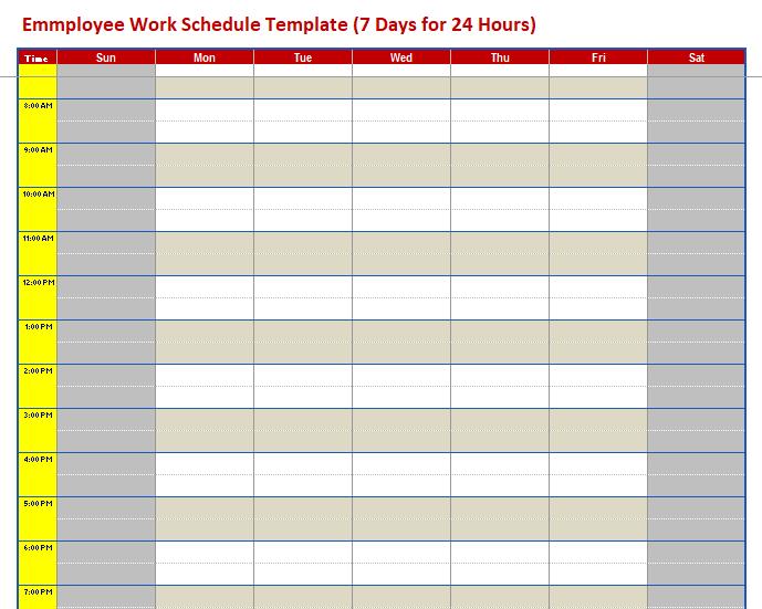 Employee Work Schedule Template 04 Schedule Templates