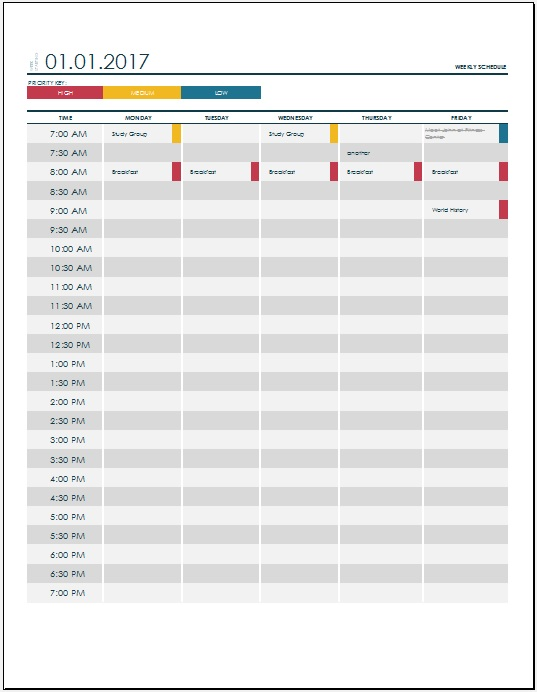 College Weekly Schedule Template from www.scheduletemplate.org